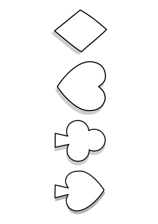 Kleurplaat Symbolen Kaartspel Afb 22741