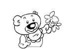 Kleurplaat teddybeer met bloemen