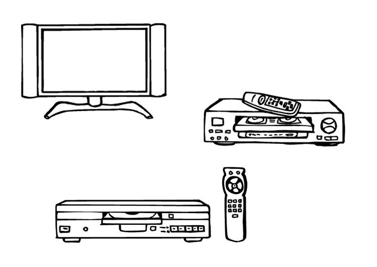 kleurplaat televisie videospeler dvd speler afb 9623