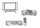 Kleurplaat televisie - videospeler - dvd-speler