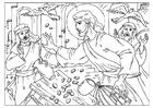 Kleurplaat tempelreiniging