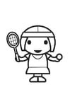 Kleurplaat tennisspeelster