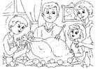 Kleurplaat thanksgiving maaltijd met familie