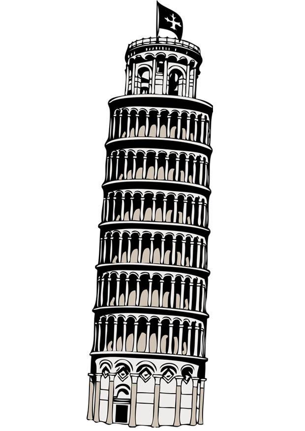 Kleurplaat Toren Van Pisa Afb 17085