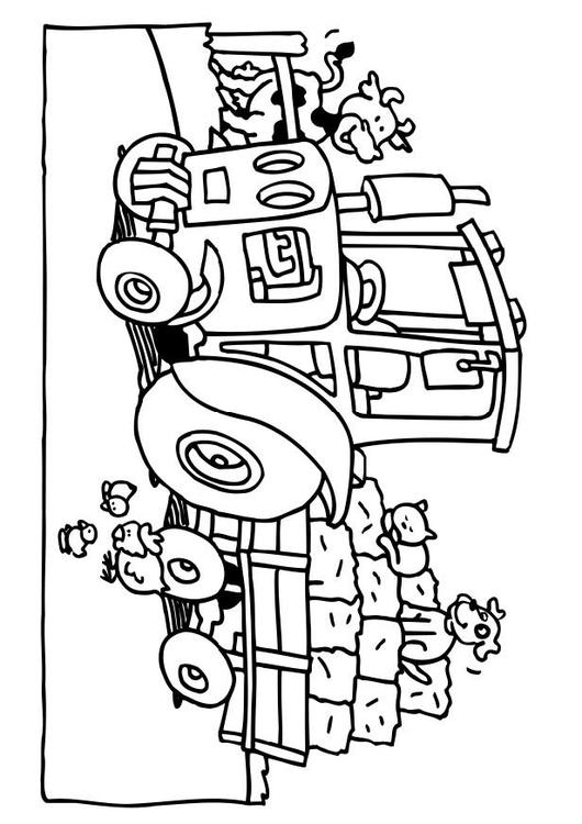 Dieren Afbeeldingen Kleurplaten Kleurplaat Tractor Afb 6552