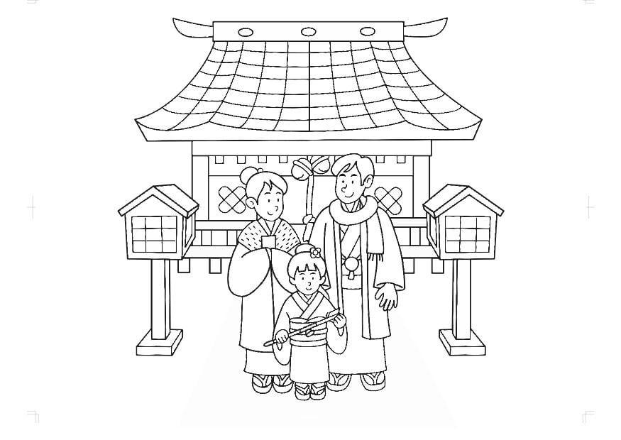 kleurplaat traditionele kledij japan gratis kleurplaten