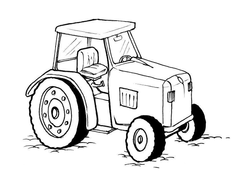 kleurplaat traktor afb 10379