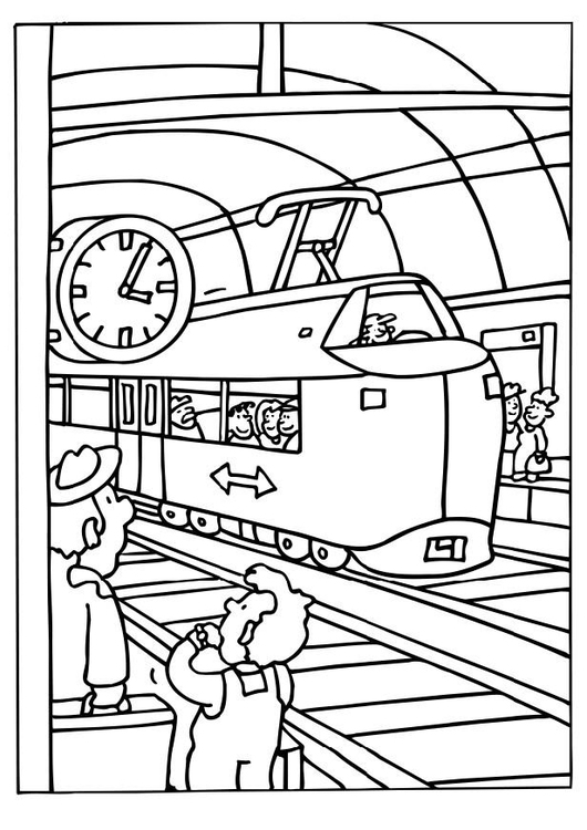 Kleurplaat Trein Station Afb 6555