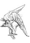 Kleurplaat treurende engel