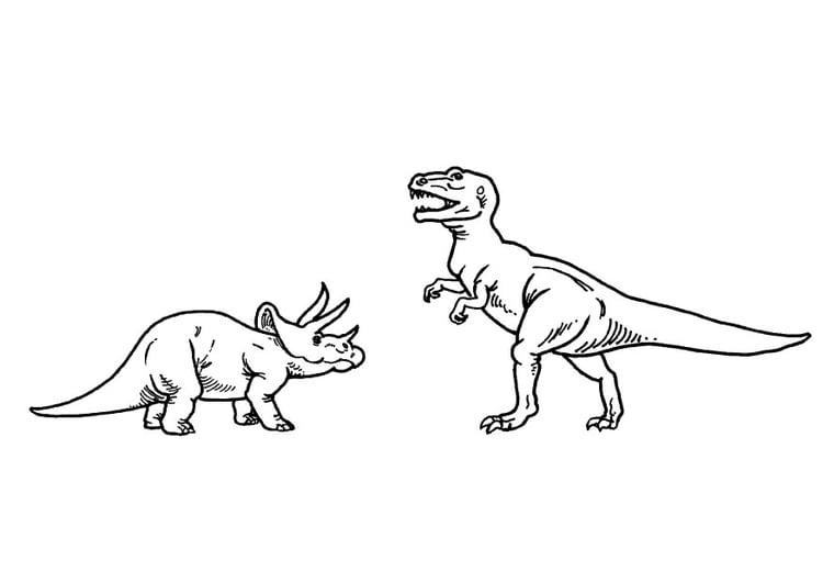 Kleurplaten Dinosaurus Rex.Kleurplaat Triceratops En T Rex Afb 9100
