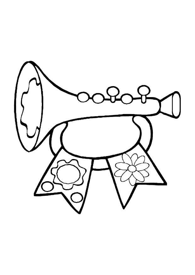Kleurplaten Muziekinstrumenten Peuters.Kleurplaat Muziek Peuters Kleurplaat Trompet Afb 10609