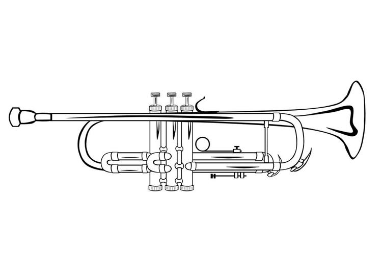 kleurplaat trompet afb 10032