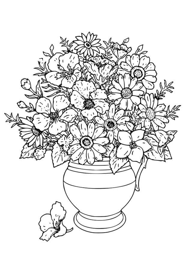kleurplaat vaas met wilde bloemen afb 18649