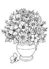 Kleurplaat vaas met wilde bloemen