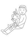 Kleurplaat vader en kind