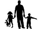 Kleurplaat vader met kinderen