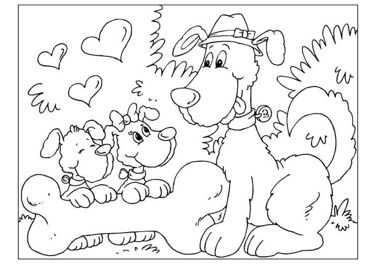 Kleurplaat Ouder Kind Kleurplaat Vaderdag Honden Afb 25775
