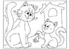 Kleurplaat vaderdag - katten