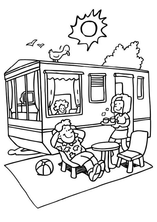 Kleurplaat Vakantie Op De Camping Afb 6558