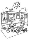 Kleurplaat vakantie op de camping