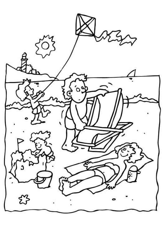 kleurplaat vakantie op het strand - afb 8069.