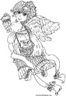 Kleurplaat valentijn engel
