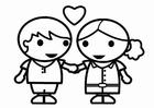 Kleurplaat valentijn verliefd