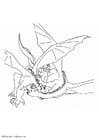 Kleurplaat vechtende draken