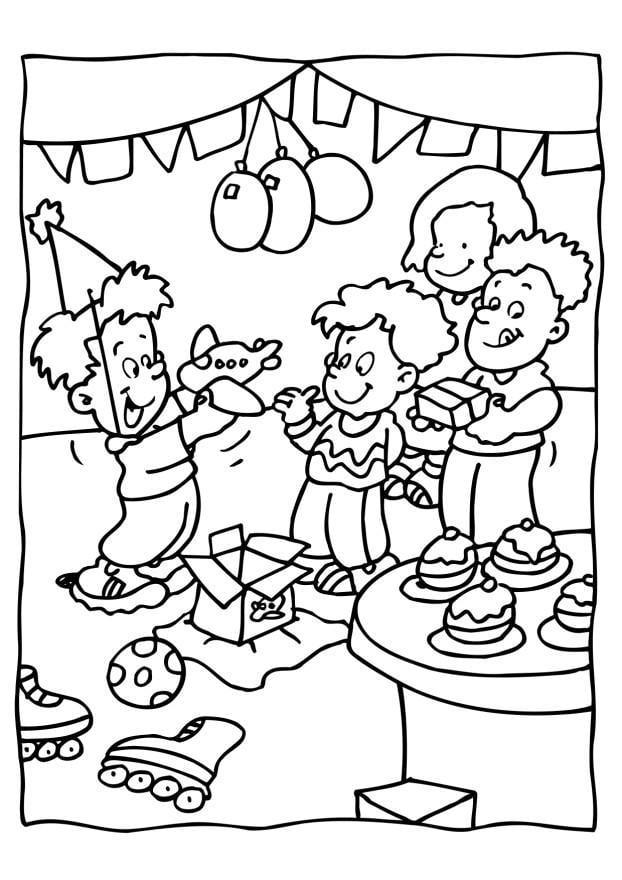 Kleurplaat Verjaardag Feest Afb 6560
