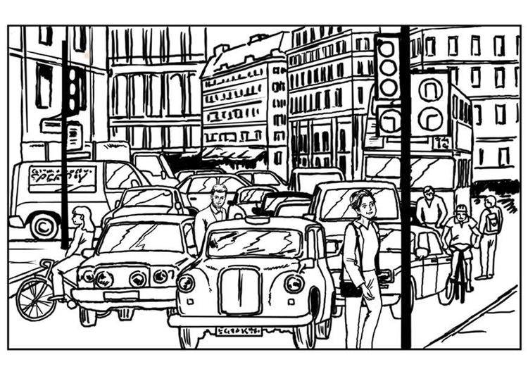 Kleurplaat Verkeer In De Stad Afb 7540