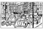Kleurplaat verkeer in de stad