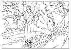 Kleurplaat verrijzenis van Jezus