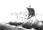 Kleurplaat viking schip