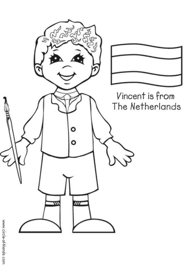 Kinderen Culturen Kleurplaten Kleurplaat Vincent Uit Nederland Gratis Kleurplaten Om Te