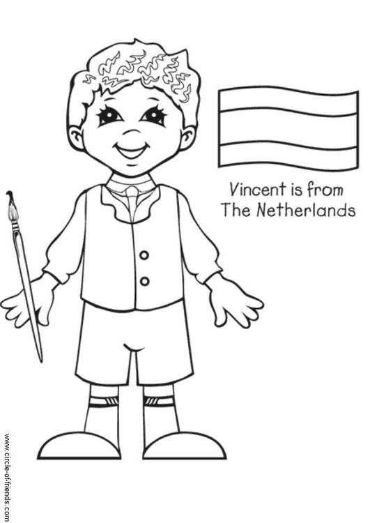 Kleurplaat Vincent Uit Nederland Afb 5655