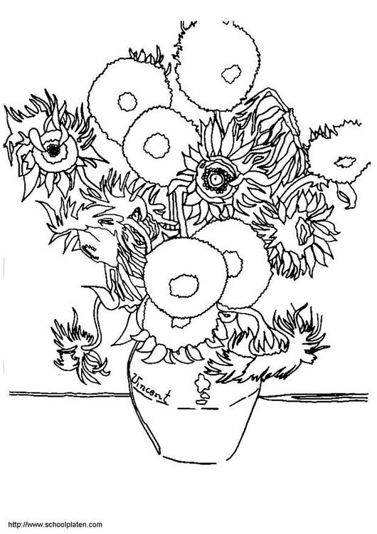 Kleurplaten Zonnebloemen.Kleurplaat Vincent Van Gogh Zonnebloemen Afb 3781