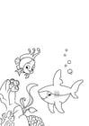 Kleurplaat vis en haai