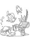 Kleurplaat vis en krab vinden schat