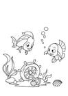 Kleurplaat vis en stuurwiel