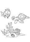 Kleurplaat vis en waterschildpad