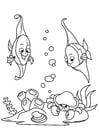 Kleurplaat vis in de zee met krab