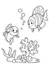 Kleurplaat vis met vriend in de zee