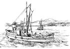 Kleurplaat visserschip