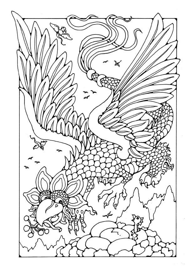 kleurplaat vliegende draak gratis kleurplaten om te printen