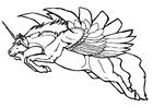 Kleurplaat vliegende eenhoorn
