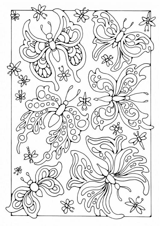 Kleurplaten Vlinders En Rupsen.Kleurplaat Vlinders Afb 19575