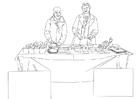 Kleurplaat voedselbedeling