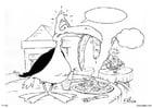 Kleurplaat vogel in restaurant