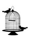 Kleurplaat vogels uit kooi
