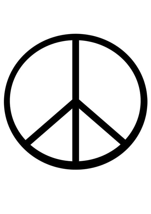 kleurplaat vredesteken afb 19188